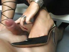 Sexy heeljob handjob from wife sexy heels