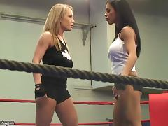 Jessica Moore and Kyra Black fight on a ring and practise face sitting porn video