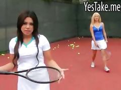 Blonde and brunette babes play tennis then fucked in 3some
