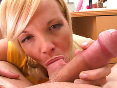 POV blowjob from sexy blonde Leah Lust