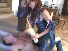 Curly fetish bitch tortures his hard cock sucking and biting it