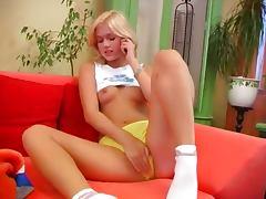 Czech blonde princess copulate a dildo