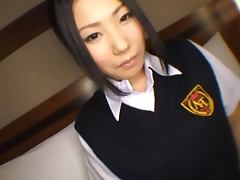 Horny school girl Momoka Nohara cum eating