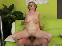 Busty granny Aliz gets her pussy pounded and enjoys cum on her face