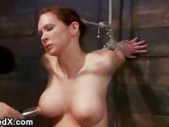 Extreme nipple torment and brutal gag on huge dick for babe who riding Sybian