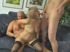 Slutty German mature lady gets threesomed and jizzed on