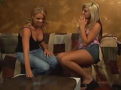 Cute blondes play lesbian games before going to bed