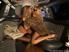 Bridget and Sandy have lesbian sex in a limousine