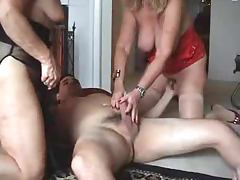 Blonde and brunette mature babes have hot FFM sex porn video