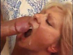 Blonde mature lady from France sucks and rides a cock