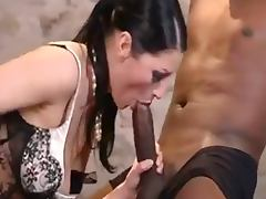 sexy lady in lingerie gets a black and white cock