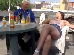 Miniskirt, Brunette, Fucking, Horny, Old, Outdoor