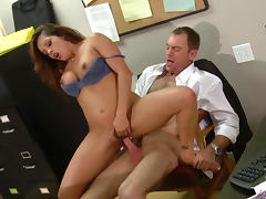 Cock sucking brunette Francesca Le is making blowjob to her boss