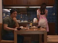 Hot Japanese housewife has wild sex after dinner porn video