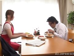 Ren Mukai blows and gets her hairy pussy fucked every which way
