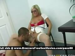 Horny blonde nurse gets a blowjob