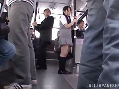 Bus, Asian, Bus, Creampie, Fingering, Gangbang