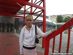 Fucking the Old Blonde Friend Ellen Saint in Outdoors Public POV