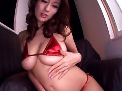 Japanese babe Julia fucks her juicy pussy with a toy