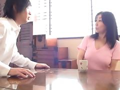 Lovely Japanese mature takes a fresh college cock
