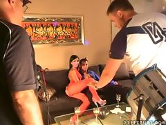backstage scenes of hot porn video of FFM THREESOME