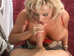 Hot blonde milf rescues a guy and gets nailed