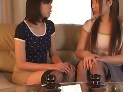 Two Japanese lesbians enjoy licking each other's hot pussies