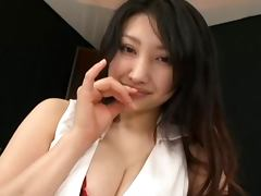 Hot Busty Asian Girl In Stockings Gives A Great POV Handjob