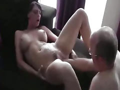 Hot brunette fist fucked in her loose vagina