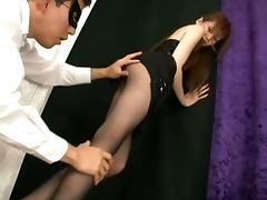 Japanese MILF Ameri Ichinose Pantyhose Getting Oiled Up