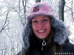 Wintertime fun with a smoking hot Blue Angel porn video