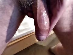 wanking my uncut cock