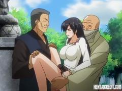 Anime brunette with big tits gets banged hard and gets a DP