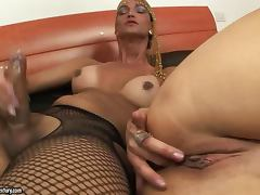 Blonde hottie takes some tranny's cock in her tight ass