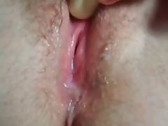 Close up of wet pussy squirting