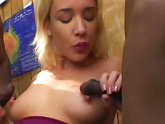 Hot as hell blonde being banged by 2 black wieners