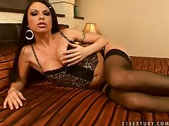 Sexy and busty brunette babe Sonya moans so hot