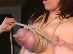 Lactation for a pain loving blondie getting her tits tied porn video