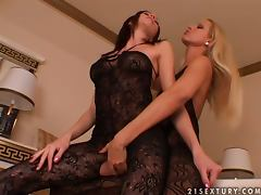 Sandy and Wendy have great lesbian sex using strap on