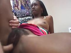 Ebony girl plays with her hairy black cunt before getting it pounded