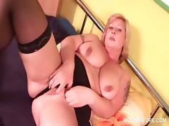 BBW mature tramp stripping and teasing her fat cunt