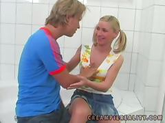 Helena Sweet the teen with pigtails rides big dick
