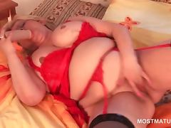 BBW blonde mature teasing her pussy and big boobs