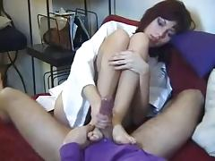 Incredibly Cute French Girl gives a footjob and gets fingered