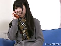 Hot Maki Takei lifts her skirt up and plays with her pussy