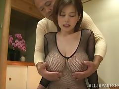 Big tittied Japanese chick in fishnet bodysuit on hot sex scene