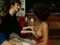 Lusty lesbians do chest exercises