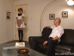 Pretty Japanese housemaid sucks big dick with pleasure