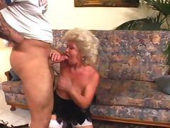 Horny granny fucks muscled dude