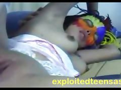 Filipino Amateur Teen Big Tits Wears Face Mask and Suspenders